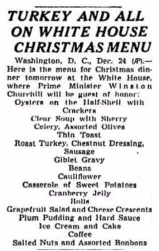 Het kerstmenu van het Witte Huis zoals dat in de krant werd gepubliceerd. (Chicago Tribune)