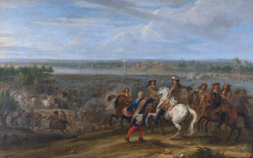 De Hollandse Oorlog - Lodewijk XIV steekt de Rijn over (Adam Frans van der Meulen, Rijksmuseum)