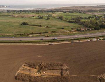 Pegwell Bay en de opgraving bij Ebbsfleet (Foto universiteit van Leicester)