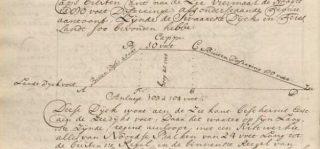 Schets van de veiliger dijk van Van Seeratt, hoger en met meer ruimte voor de golfslag. in zijn verslag 1716-1721.
