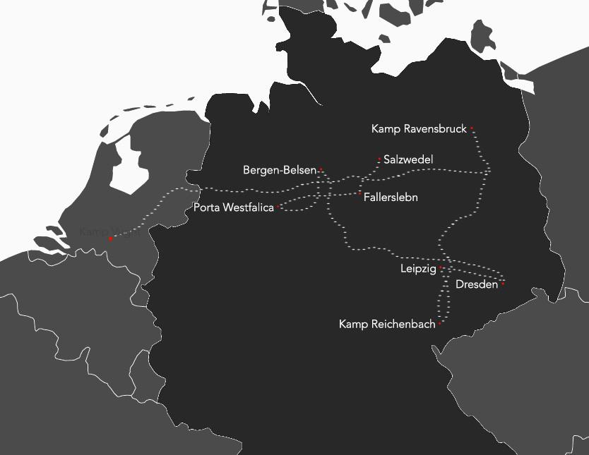 Transport van Tineke in Duitsland, januari 1944- april 1945