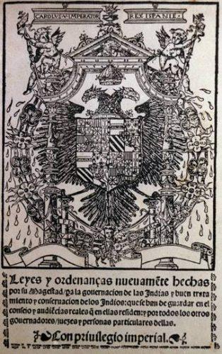 Titelpagina van de Leyes Nuevas (Nieuwe Wetten)