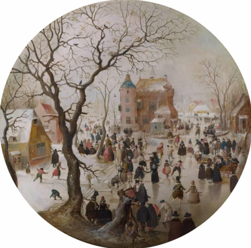 Winter scène met schaatsers bij een kasteel. ca. 1608-1609 - Hendrick Avercamp (National Gallery, Londen)