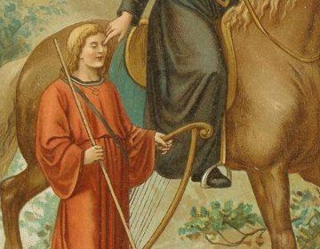 De heilige Liudger geneest de blinde zanger Bernlef (detail van een afbeelding uit 'Neerlands heiligen in vroeger eeuwen' van J.A.F. Kronenburg, 1904)