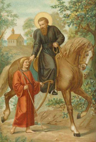 De heilige Liudger geneest de blinde zanger Bernlef (afbeelding uit 'Neerlands heiligen in vroeger eeuwen' van J.A.F. Kronenburg, 1904)