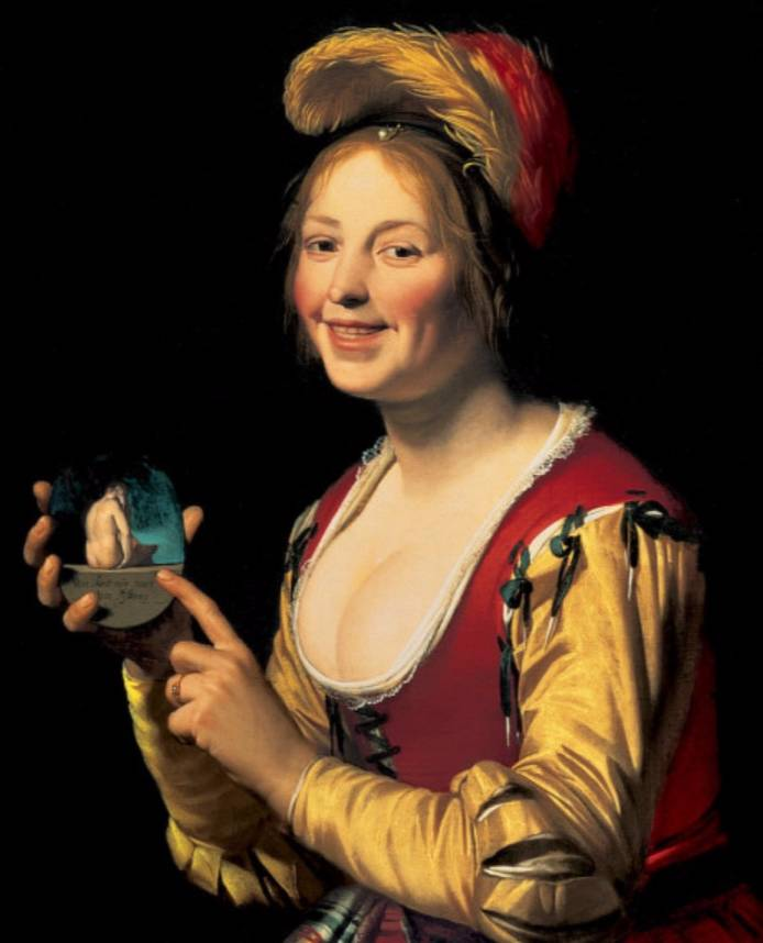 Lachend meisje met een obscene afbeelding - Gerard van Honthorst, 1592