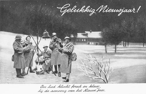 Wenskaart uit de mobilisatietijd: 'Gelukkig Nieuwjaar! Ons lied klinkt forsch en klaar, bij de aanvang van het Nieuwe Jaar.' (Bron: Beeldbank WO2, Collectie NIOD, beeldnr. 63467)