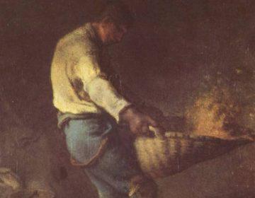 Een boer scheidt het kaf van het koren met een wan (Jean-François Millet, ca. 1846)