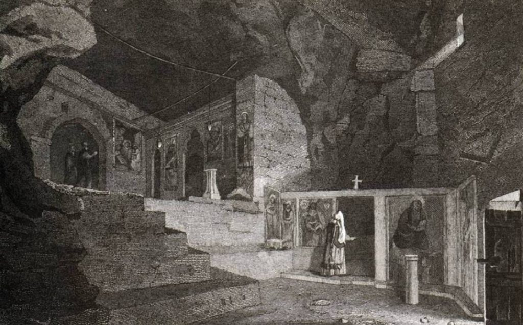 Een oude ets van het interieur van de kapel