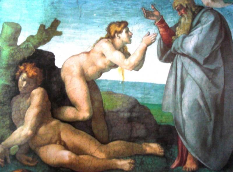 """""""Een rib uit mijn lijf"""" - God schept Eva uit een rib van Adam, Michelangelo Buonarroti"""