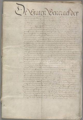 Eerste pagina van het Octrooi van de West Indische Compagnie - cc
