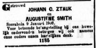 Huwelijksadvertentie - Soerabaijasch Handelsblad, 10 januari 1908