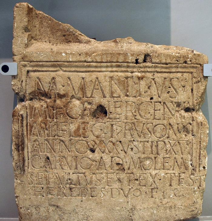 Inscriptie uit Herwen: het graf van een soldaat Mallius. Hij zal her en der op deze planeet nog wel wat afstammelingen hebben. (Valkhofmuseum, Nijmegen)