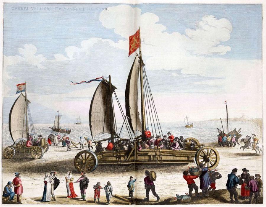 De zeilwagen en het prototype, ontworpen door Simon Stevin, op het strand van Scheveningen.