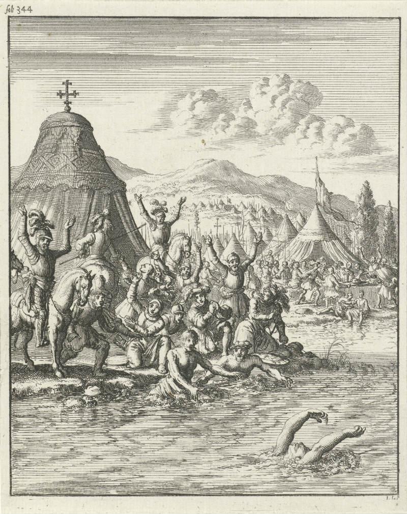 Keizer Frederik Barbarossa verdrinkt in de Selef, Jan Luyken, 1683 (Rijksmuseum)