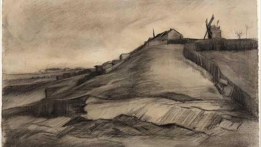 De nieuw ontdekte tekening: De heuvel van Montmartre met steengroeve, gedateerd maart 1886.