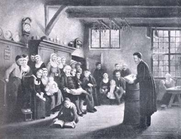Conventikelbijeenkomst in Midwolda rond 1840
