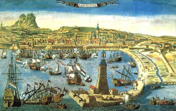 De haven van Barcelona in de zeventiende eeuw