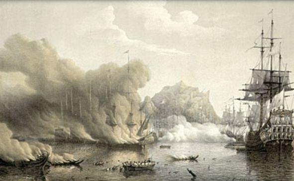 Een Franse vloot bestookt een Staats-Spaanse vloot in de haven van Palermo