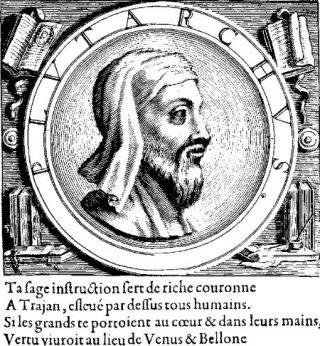 Fantasieportret van Plutarchus uit de vertaling van diens Parallelle Levens uit 1565.