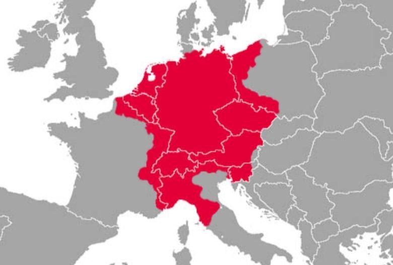 Hoogtepunt van het Heilige Roomse Rijk rond 1550, op een kaart van het huidige Europa (wiki)