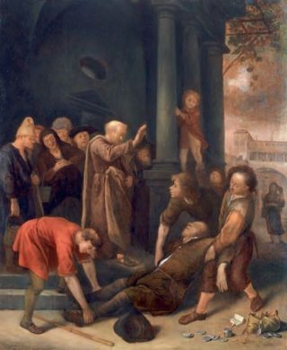 Jan Steen, De dood van Ananias, 1651. Paneel, 45 x 36 cm. Matthiesen Gallery, Londen