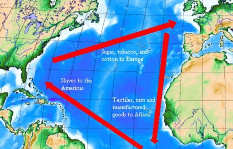 Kaart van de Trans-Atlantische driehoekshandel (wiki)