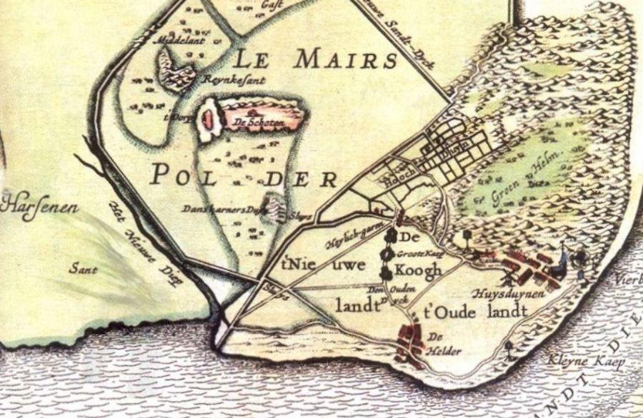 Le Mairs polder bij Den Helder. Kaart uit 1641 door Claes Jansz. Visscher. (zicht vanuit het noorden)