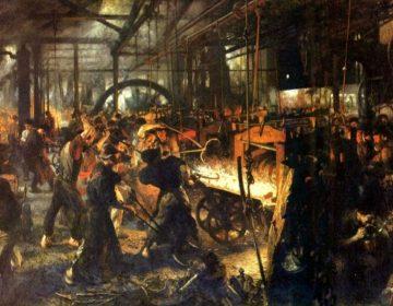 Sociale kwestie - Werkomstandigheden in een ijzerwalsfabriek (Adolph Menzel, ca. 1875)