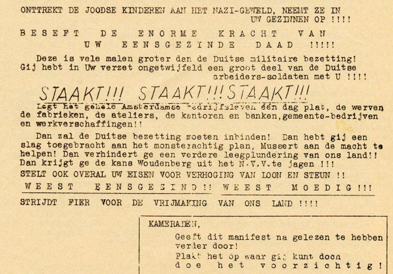 Stakingsoproep (Verzetsmuseum)