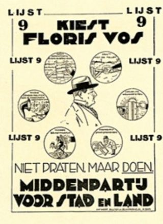 Verkiezingsaffiche van de Middenpartij voor Stad en Land 1929
