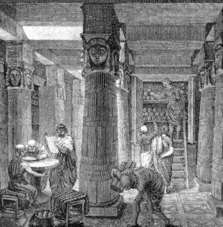 Voorstelling van de oude bibliotheek van Alexandrië