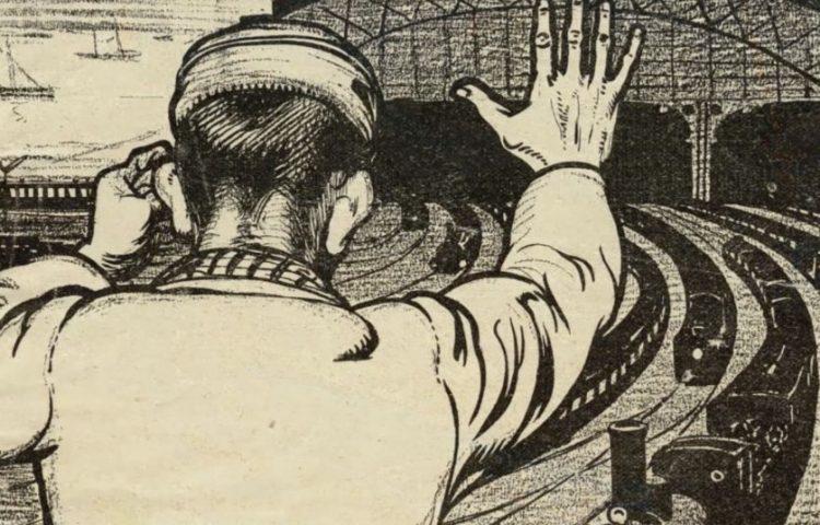 """De spoorwegstakingen van 1903 - """"Gansch het raderwerk staat stil, als uw machtige arm het wil"""" - detail van een spotprent van Albert Hahn"""