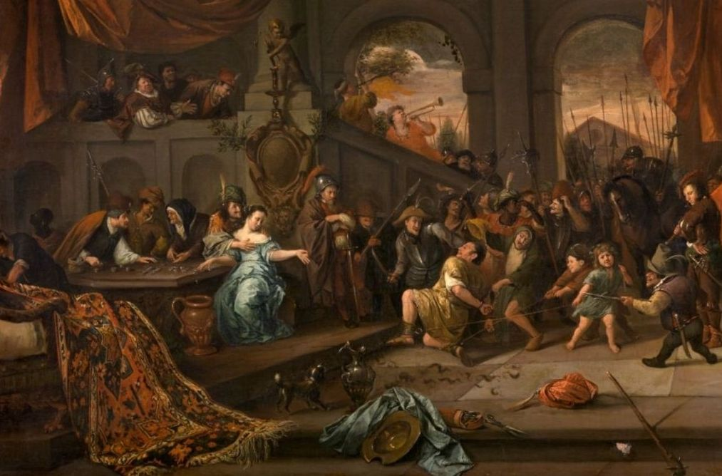 Jan Steen, De bespotting van Simson, c.1675-1676. Doek, 65 x 82 cm. - Koninklijk Museum voor Schone Kunsten, Antwerpen
