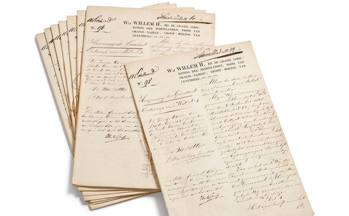 Archiefstukken van de grondwet van 1848