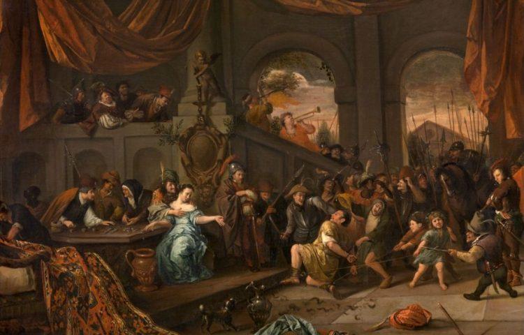 De bespotting van Simson, - Jan Steen, c.1675-1676 - Koninklijk Museum voor Schone Kunsten, Antwerpen