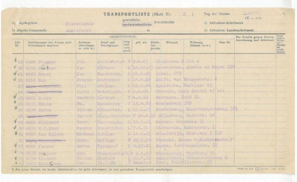Transportlijst van Kamp Amersfoort, waarbij de naam van Nico van Hasselt is doorgestreept. - Foto Kamp Amersfoort