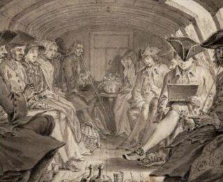 Het tekencollege in de trekschuit, door Simon Fokke (1760). Bron: Gemeente in de genen