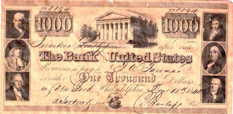 Een wissel / wisselbrief uitgegeven door de Second Bank of the United States op 15 december 1840 voor een bedrag van $1000.