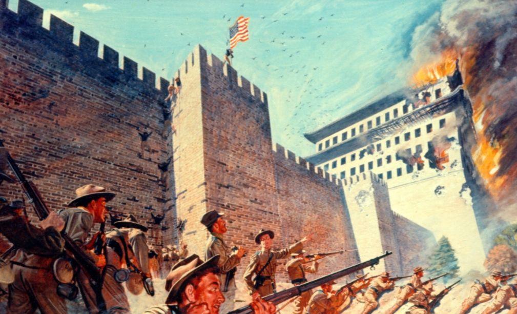 Amerikaanse troepen tijdens gevechten bij Peking - Bokseropstand (H. Charles McBarron, Jr)