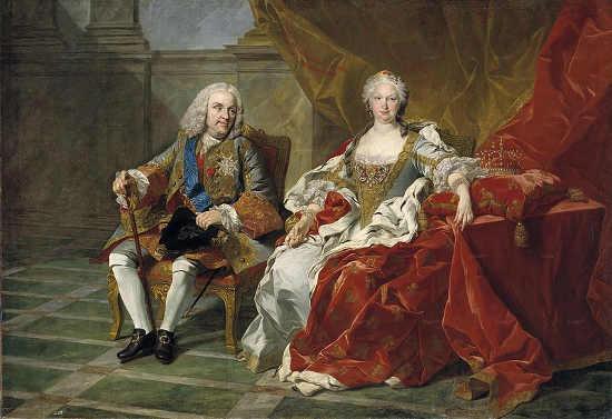 Filips V en Isabella van Farnese in 1743