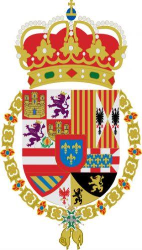 Het wapen van Filips, als koning van Spanje