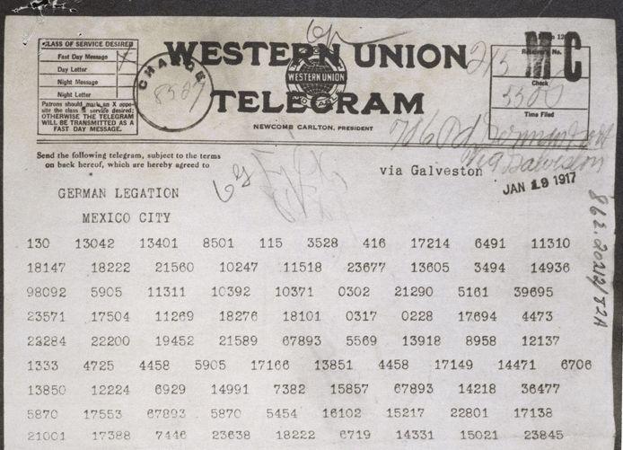 Het originele telegram zoals het vanuit de Duitse ambassade in Washington naar de Duitse ambassade in Mexico werd gestuurd (The U.S. National Archives)