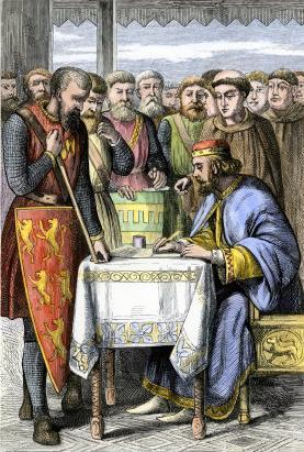 Houtsnede (19e eeuw) van de ondertekening van de Magna Carta door koning Jan zonder Land