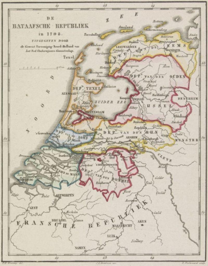 Kaart van de Bataafse Republiek zoals het in 1798 was verdeeld in 8 departementen. Rijksmuseum, Amsterdam