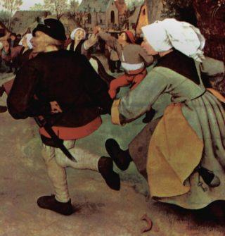 Boerendans geschilderd door Pieter Brueghel de Oude omstreeks 1568. De man heeft een lepel op zijn muts gestoken en een mes opzij. Zo kan hij bij iedere maaltijd aanschuiven. (Kunsthistorisch Museum, Wenen)