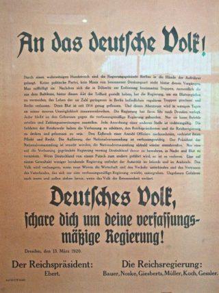 Plakkaat van van de rijksregering, tégen de coup (Heinz-Josef Lücking - wiki)