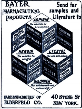 Reclame van Bayer voor onder meer Aspirine en heroïne