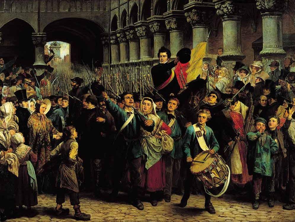 Rogier aan het hoofd van de Luikse vrijwilligers (Soubre, 1878) - wiki