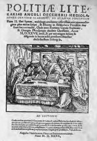 Titelpagina van De politia litteraria van Angelo Decembrio